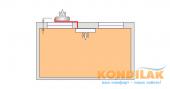 Схема №3 монтажа кондиционера сплит-системы (Вид сверху внутреннего и внешнего блоков)